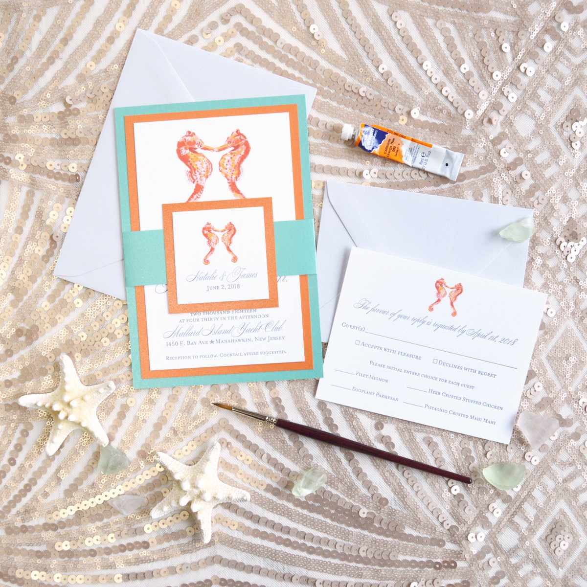 Coral and turquoise hand painted seahorse invitation suite