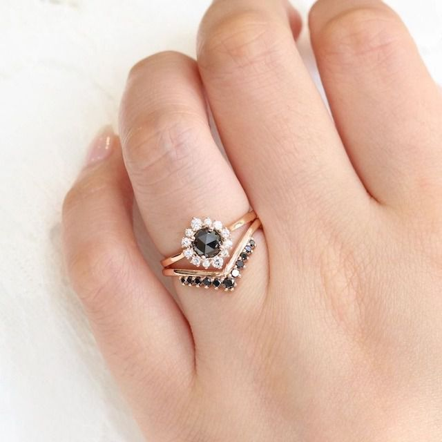 La More Design Tiara Halo Bridal Set With Rose Cut Black Diamond