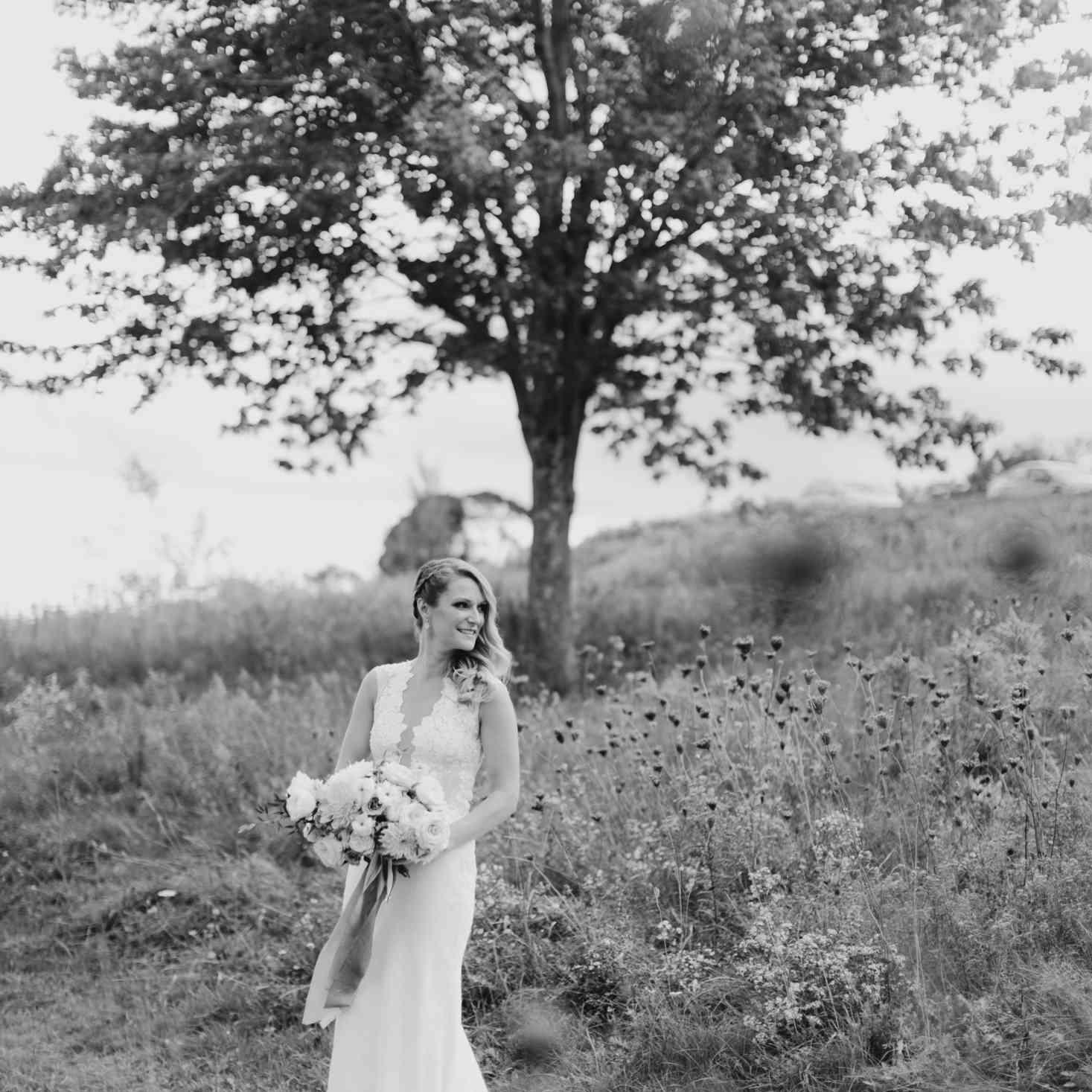 Bride in Ines Di Santo wedding gown
