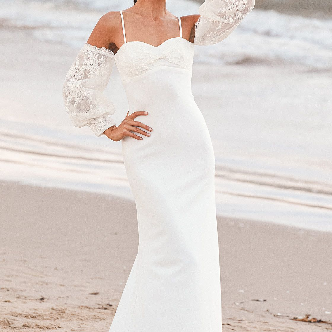 Lulus Dear Forever White Lace Cold-Shoulder Puff Sleeve Maxi Dress