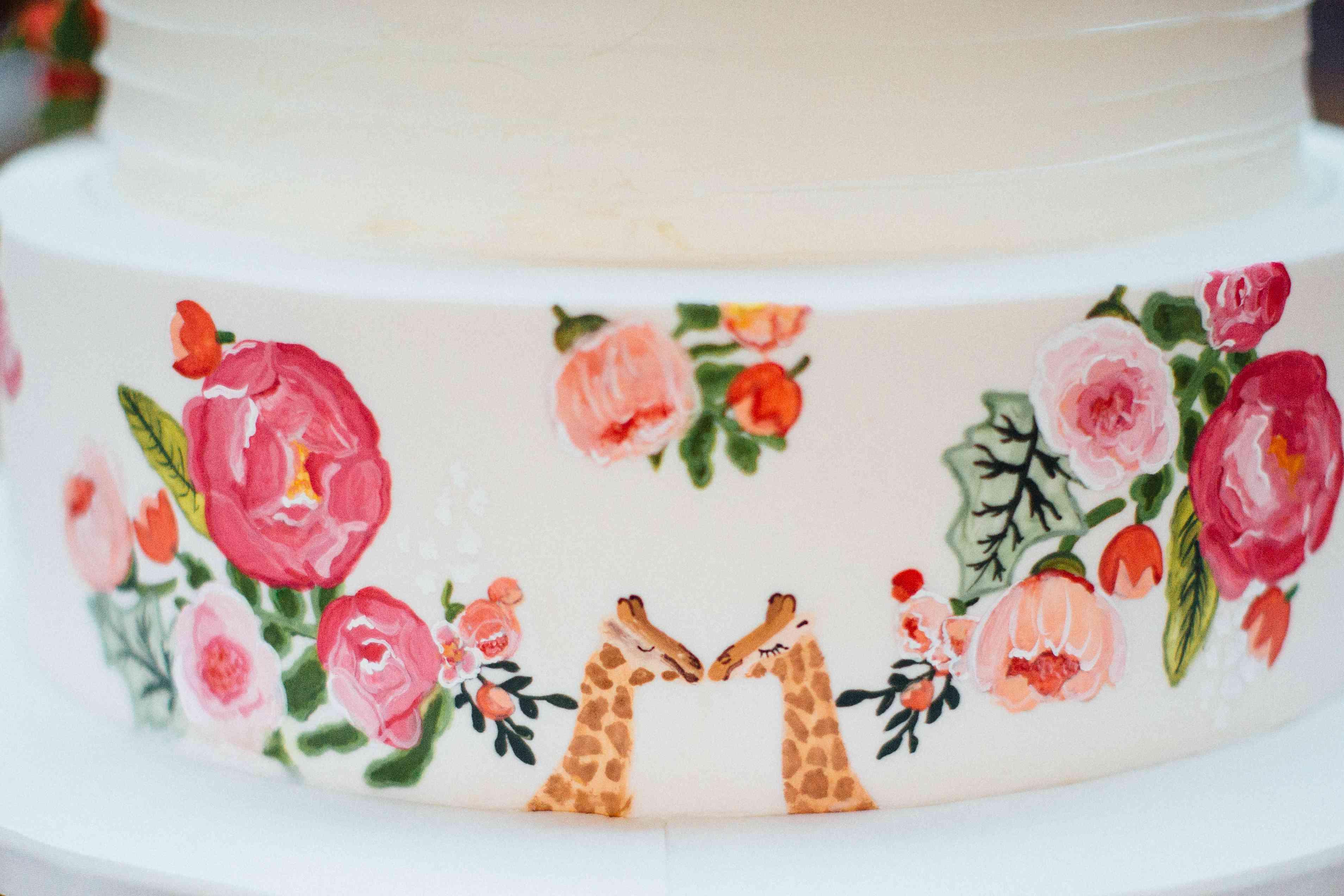 <p>Wedding Cake Watercolor Giraffe Design</p><br><br>