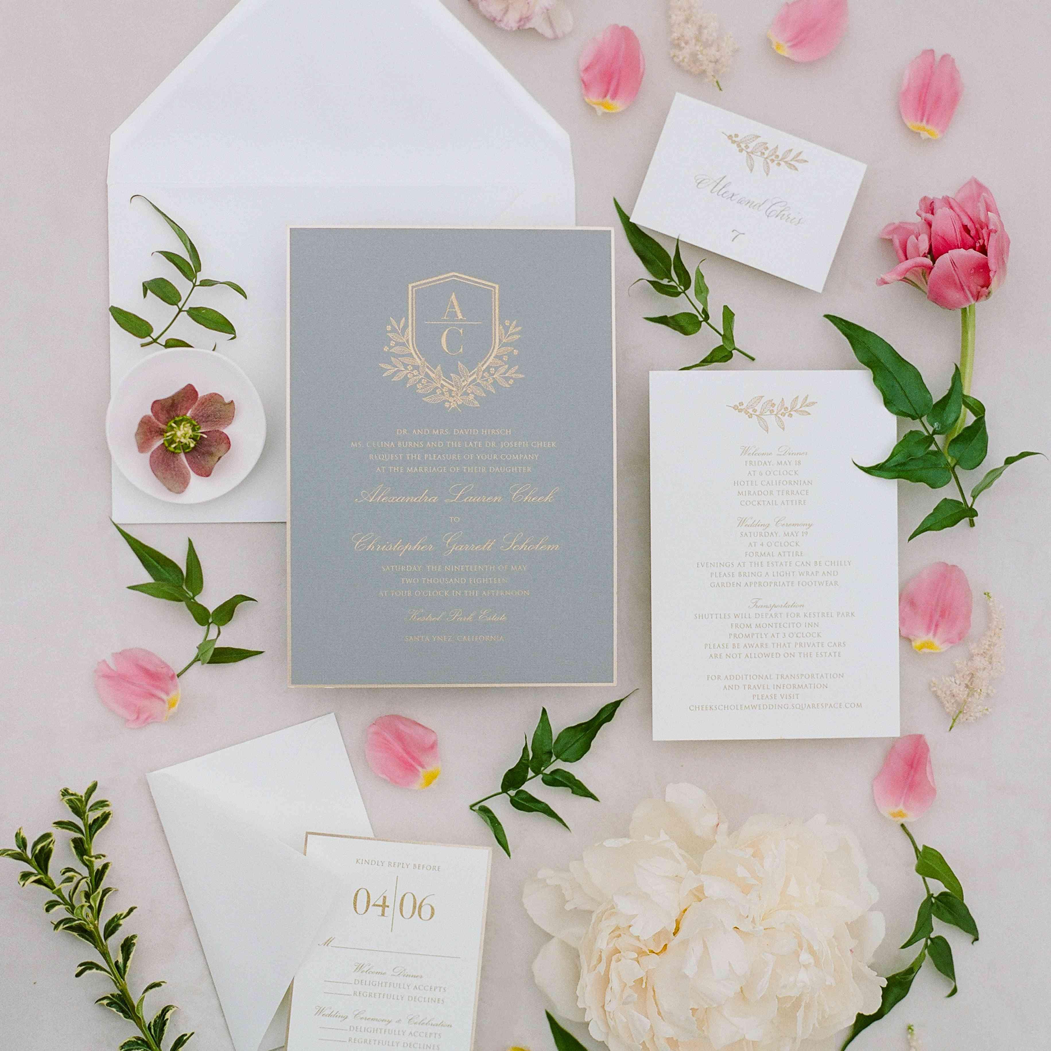 Pink Rose Pearls Rings Personalised Wedding Invitations
