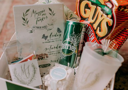Wedding welcome basket with calligraphed weekend itinerary