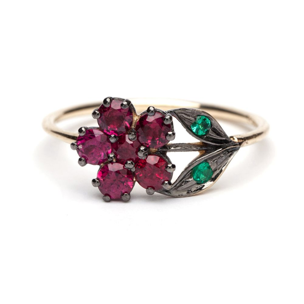Sofia Kaman Antique-Inspired Ruby Flowers Ring