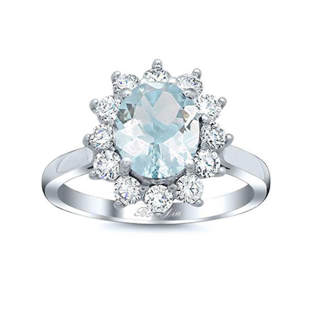 DeBebians Oval Aquamarine Floral Halo Diamond Engagement Ring