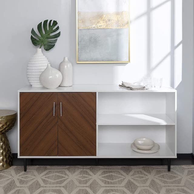 Walker Edison Furniture Company Mid-Century Modern Chevron Wood Stand with Cabinet Doors