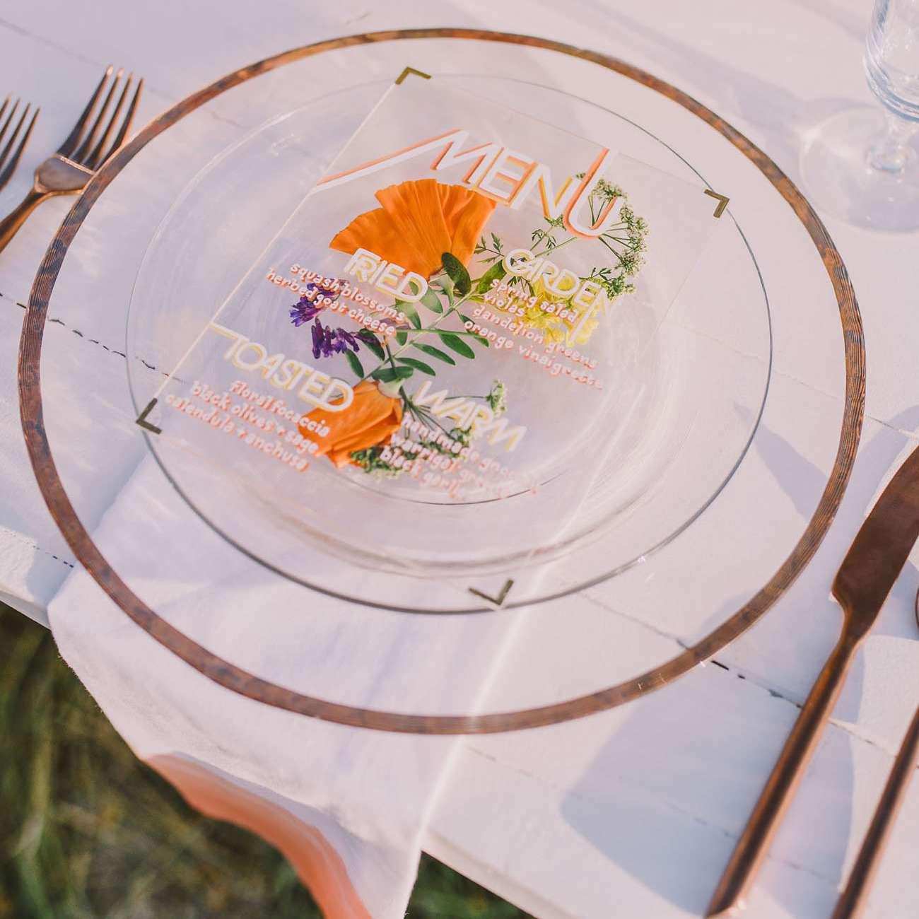 Clear Acrylic Wedding Menu