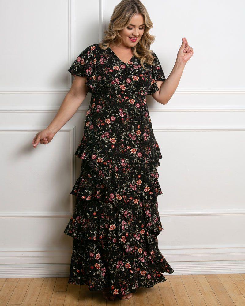 Kiyonna Tour de Flounce Maxi Dress, $288
