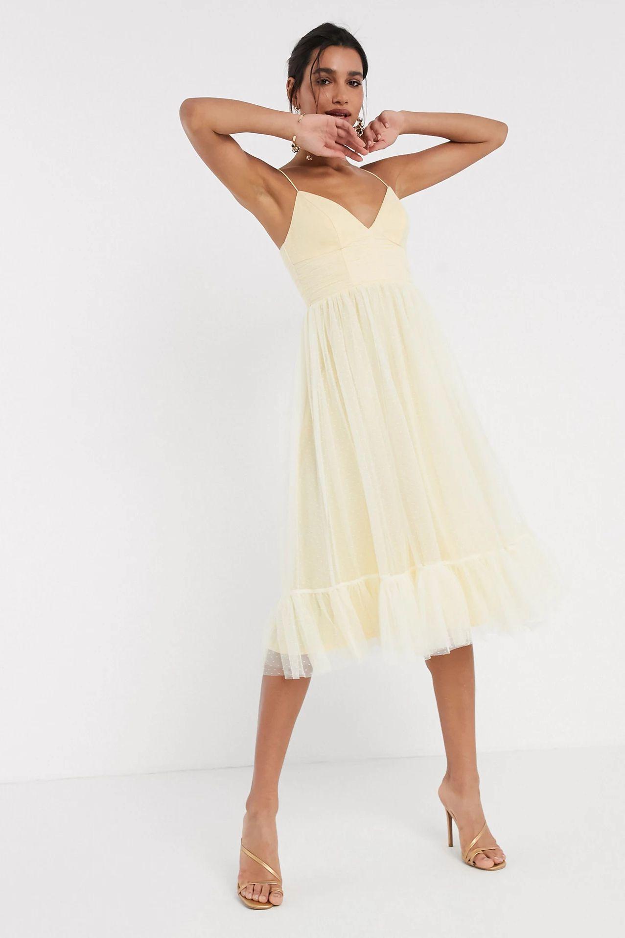 cami spot tulle mesh midi dress in lemon