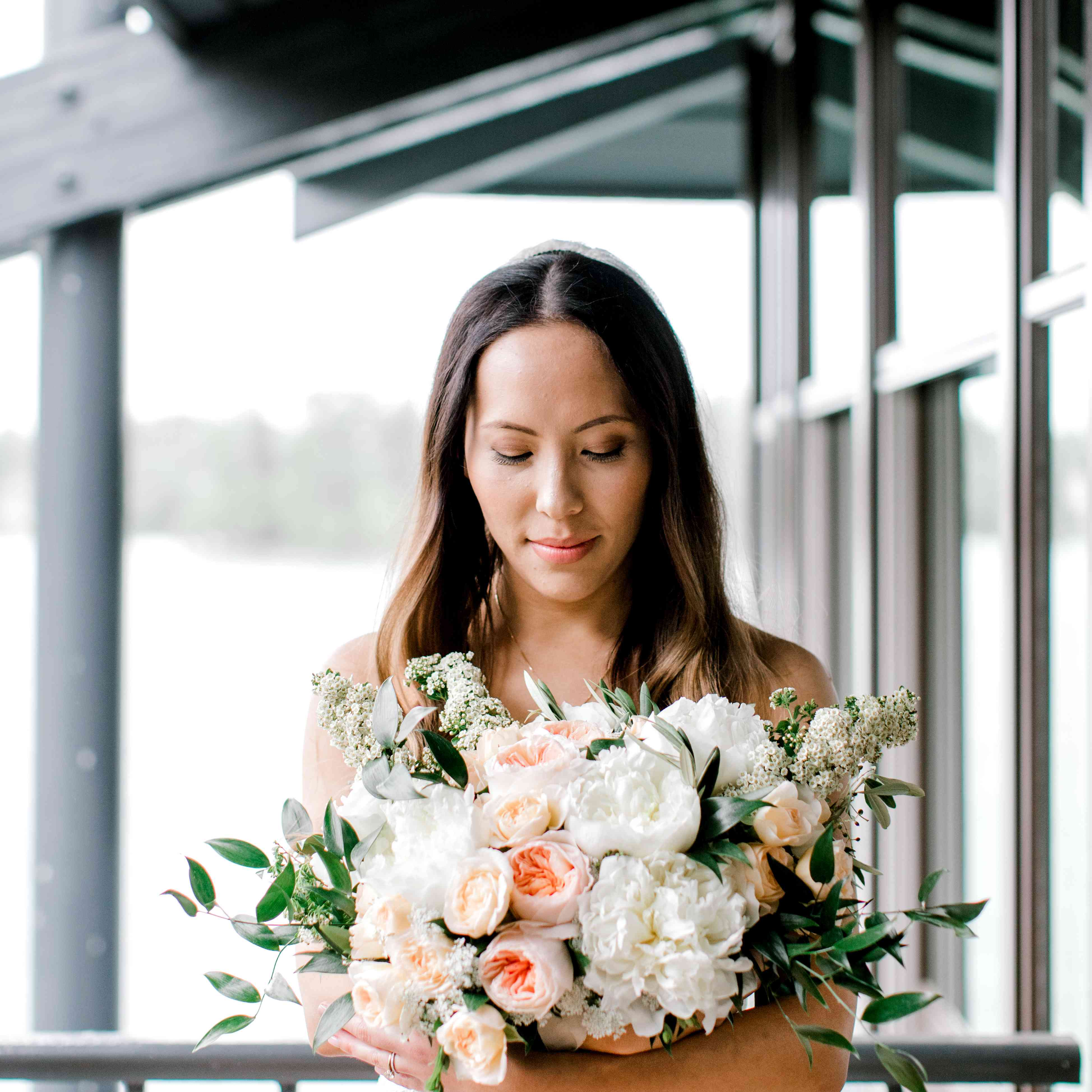 Sorbet-hued Peony bouquet