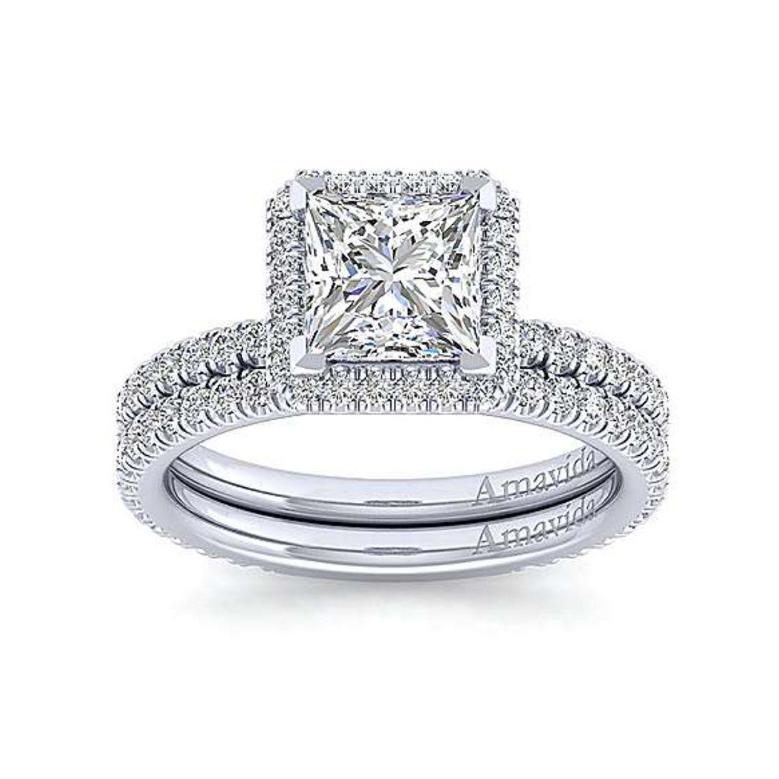 Gabriel & Co. 18K White Gold Princess Halo Diamond Engagement Ring