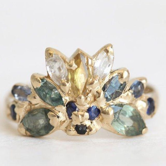 Capucinne Yellow Gold Engagement Ring, Unique Engagement Ring