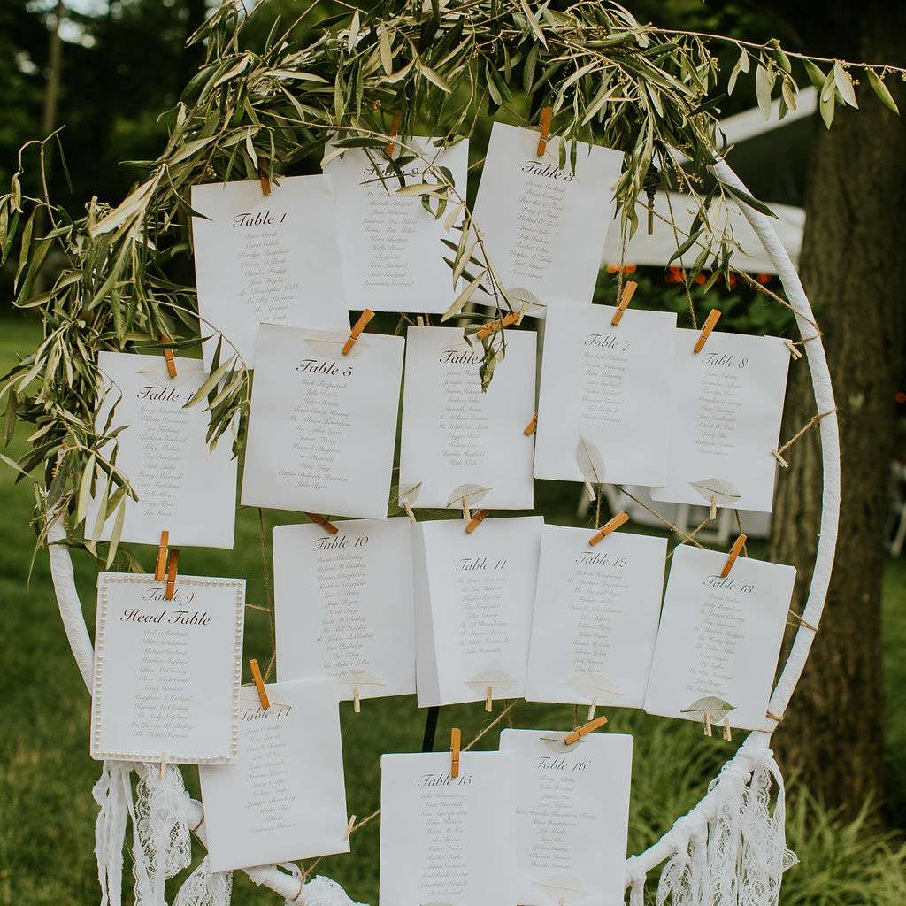 Floral hoop with table assignments