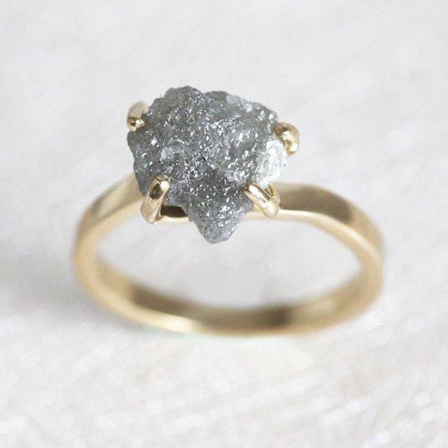 Capuccine Grey Diamond Ring, Rough Diamond Ring
