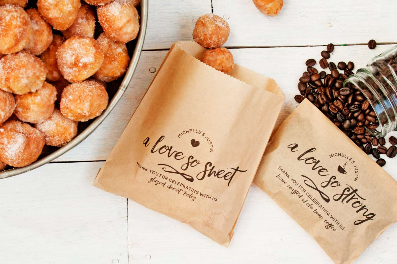 Donuts and coffee bean party favors