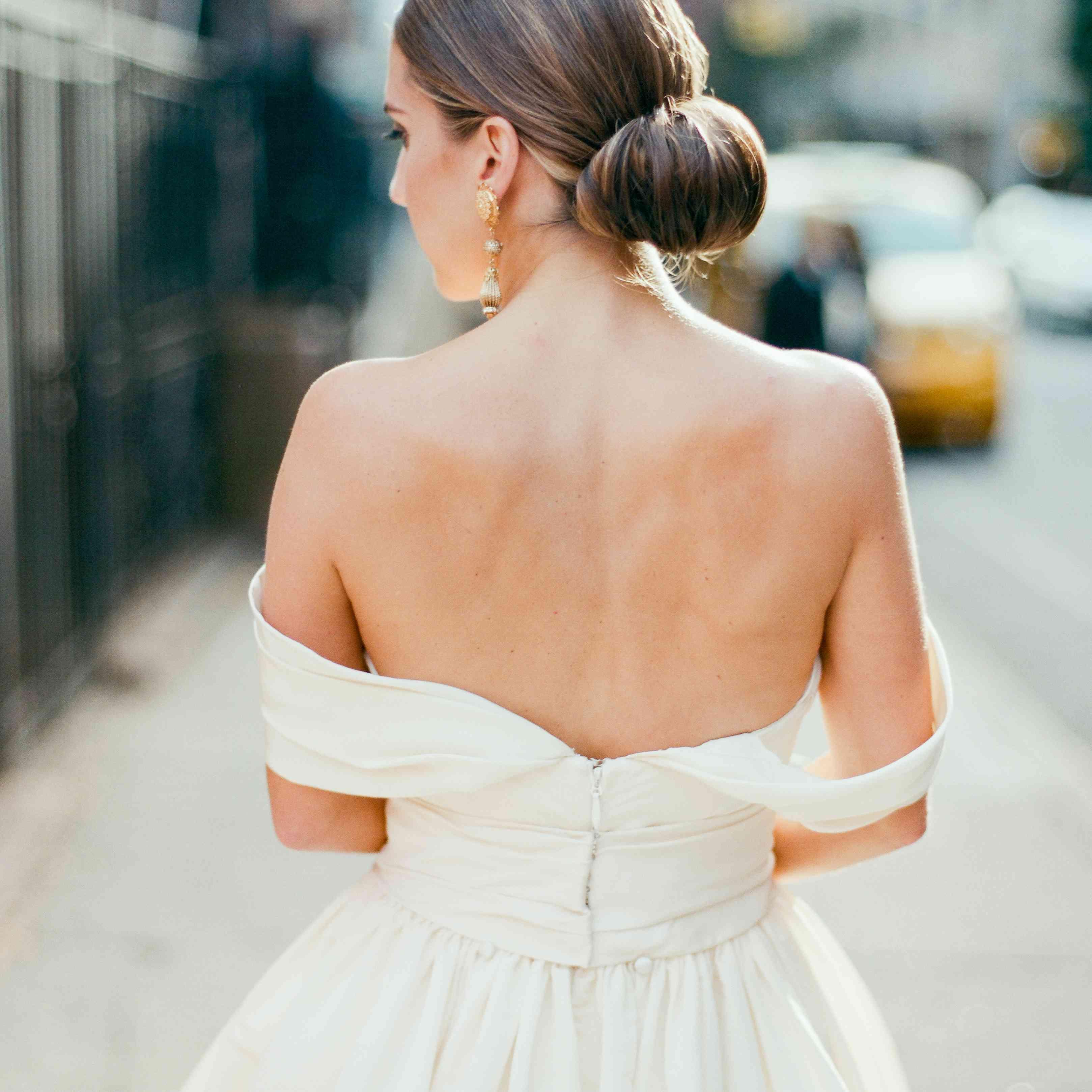 bride in off-the-shoulder