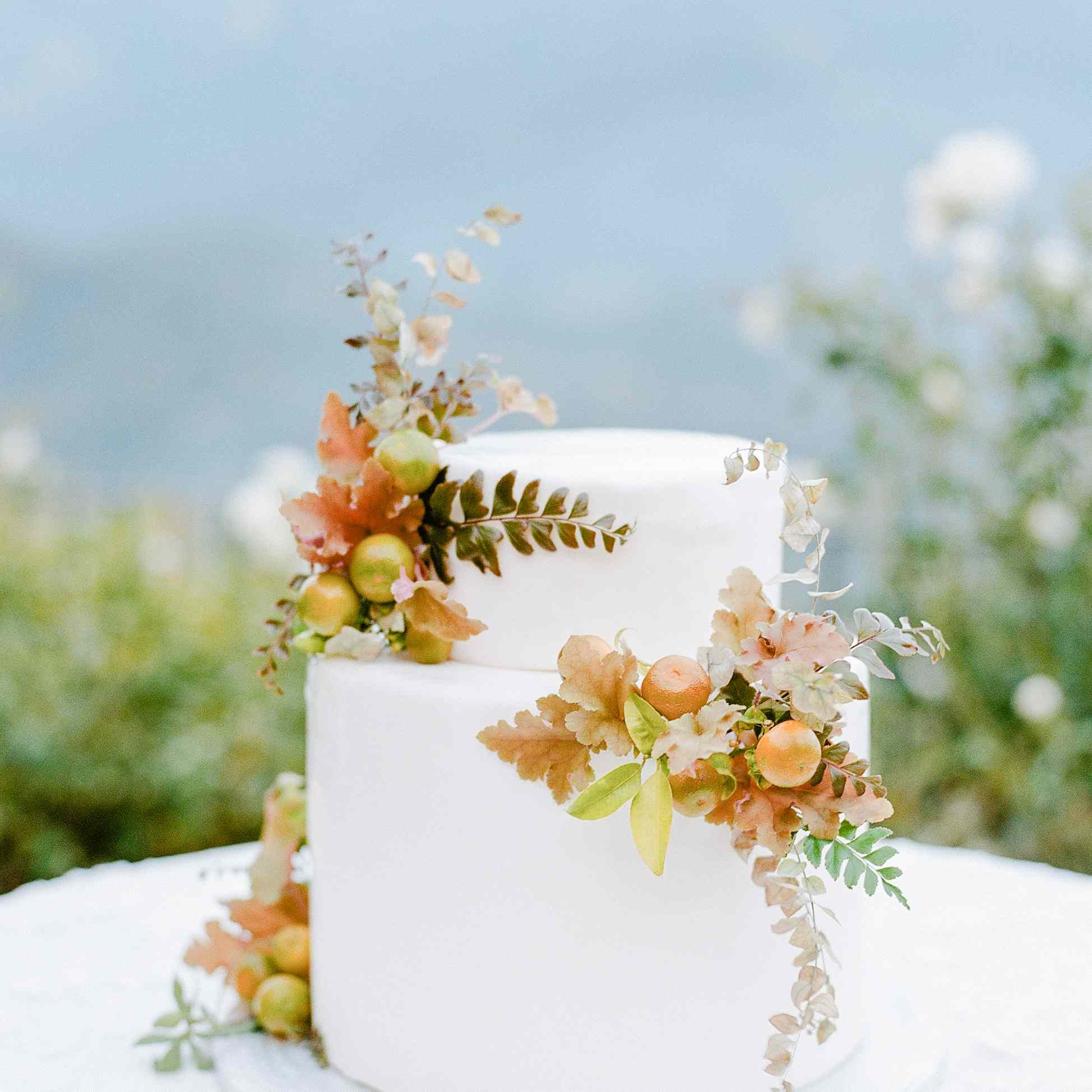 White two-tiered wedding cake with citrus accents