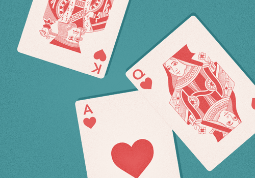 illustration of king, queen, and ace of hearts