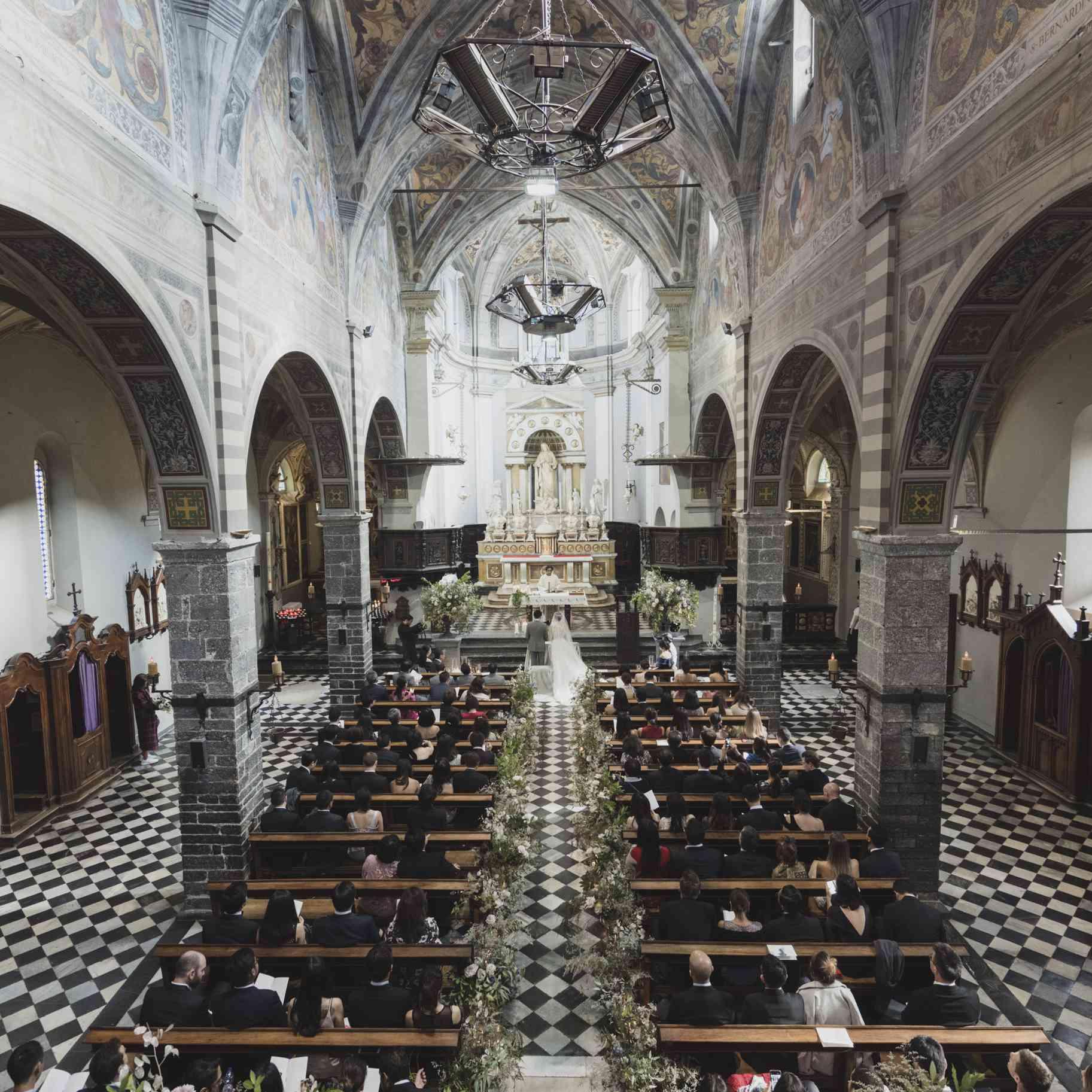 romantic lake como wedding, church interior