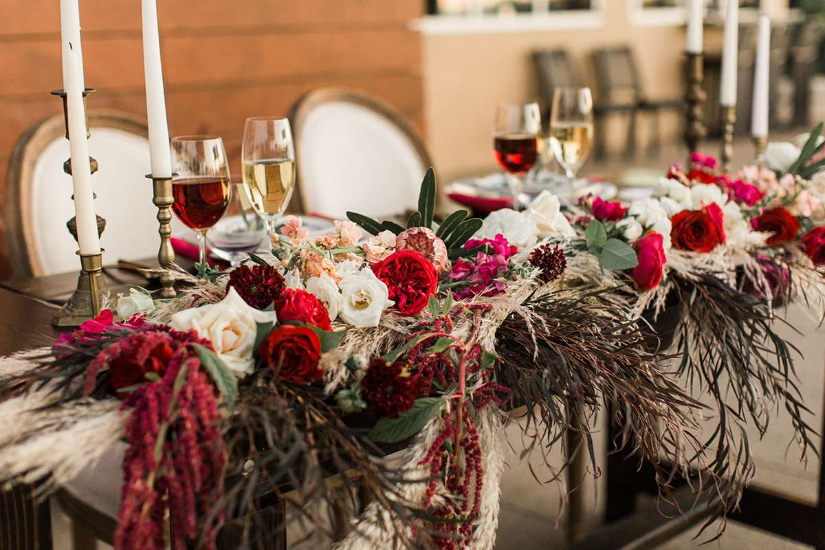 Floral runner with pampas grass