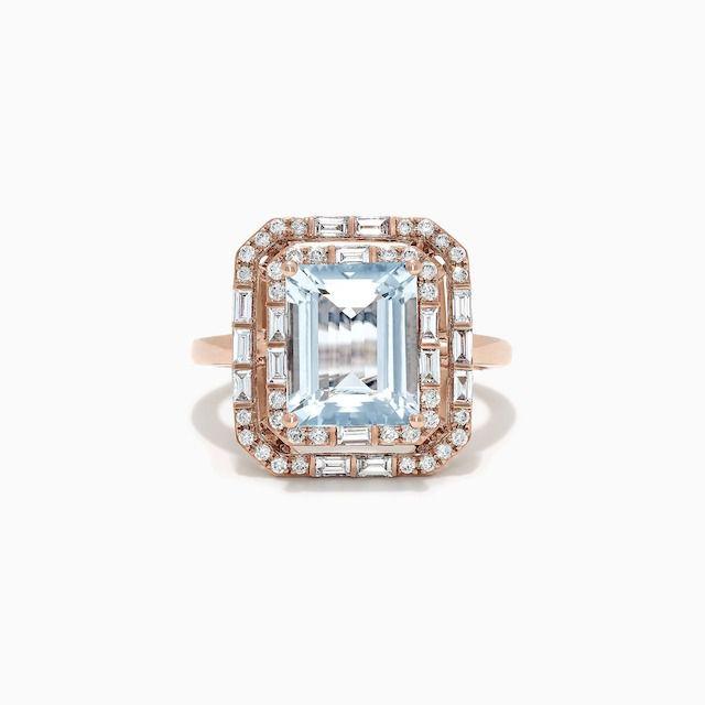 Effy Aquarius Rose Gold Aquamarine and Diamond Ring