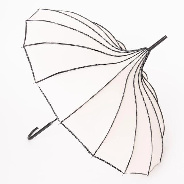 Ivory and Black Polka Dot Princess Pagoda Umbrella