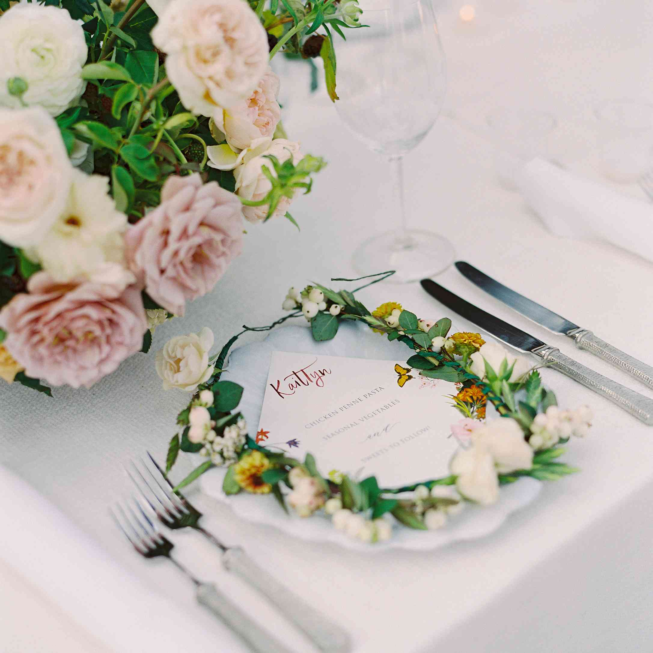 Flower Crown on Place Setting