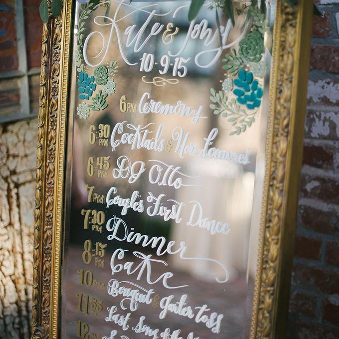 Wedding program written on mirror