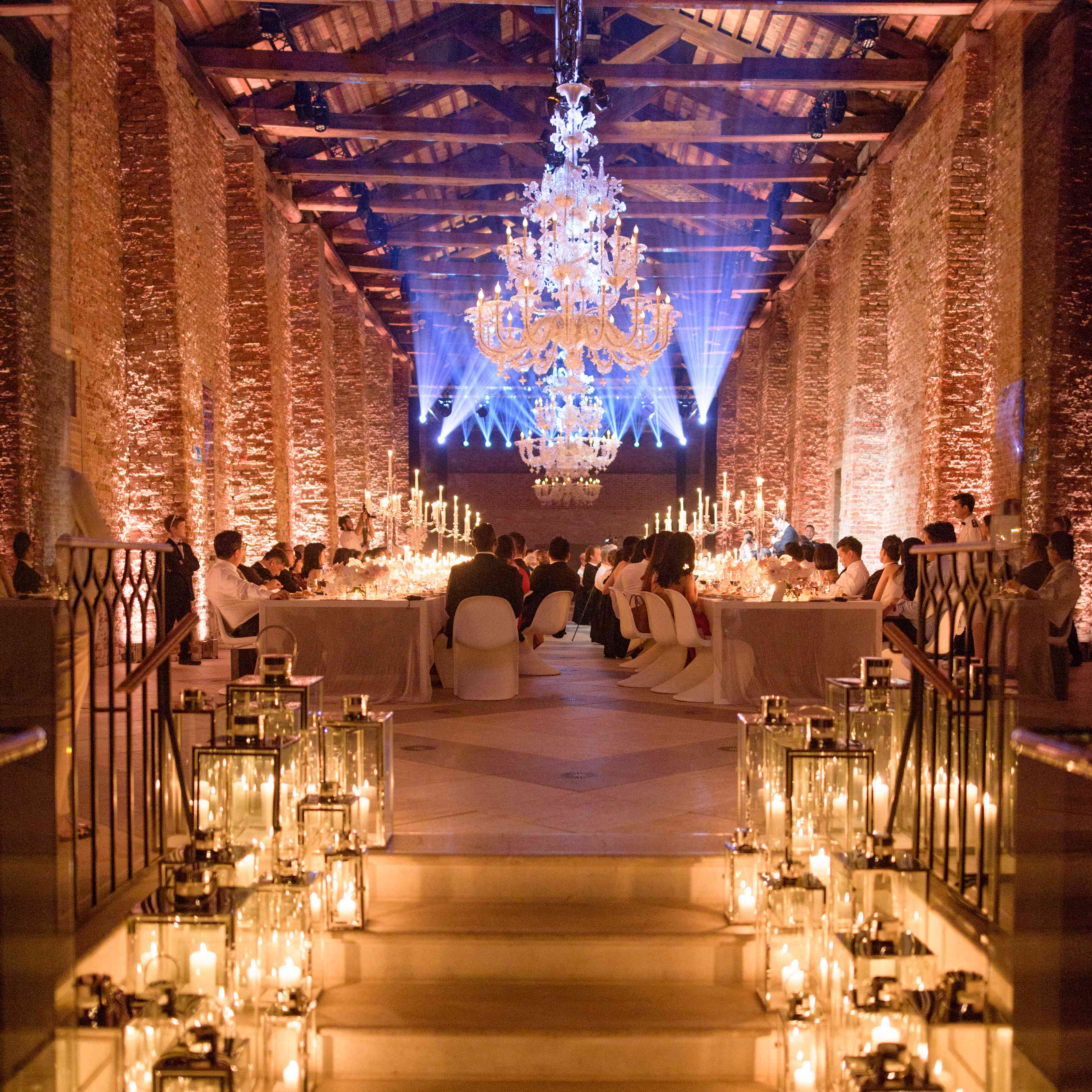 modern venice wedding, reception lanterns