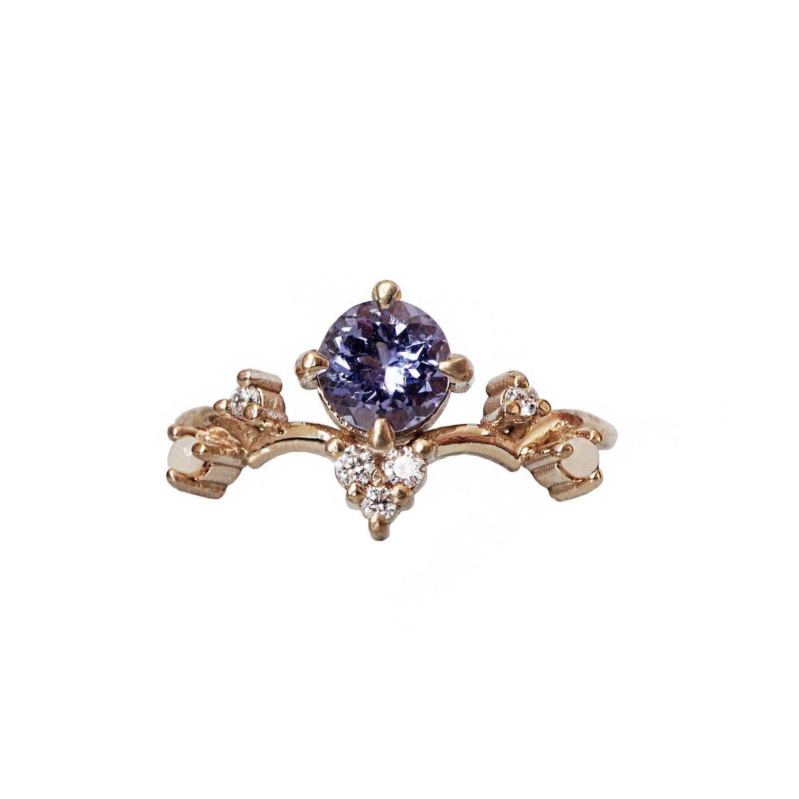 Tanzanite Ivy Diamond Pearl Ring