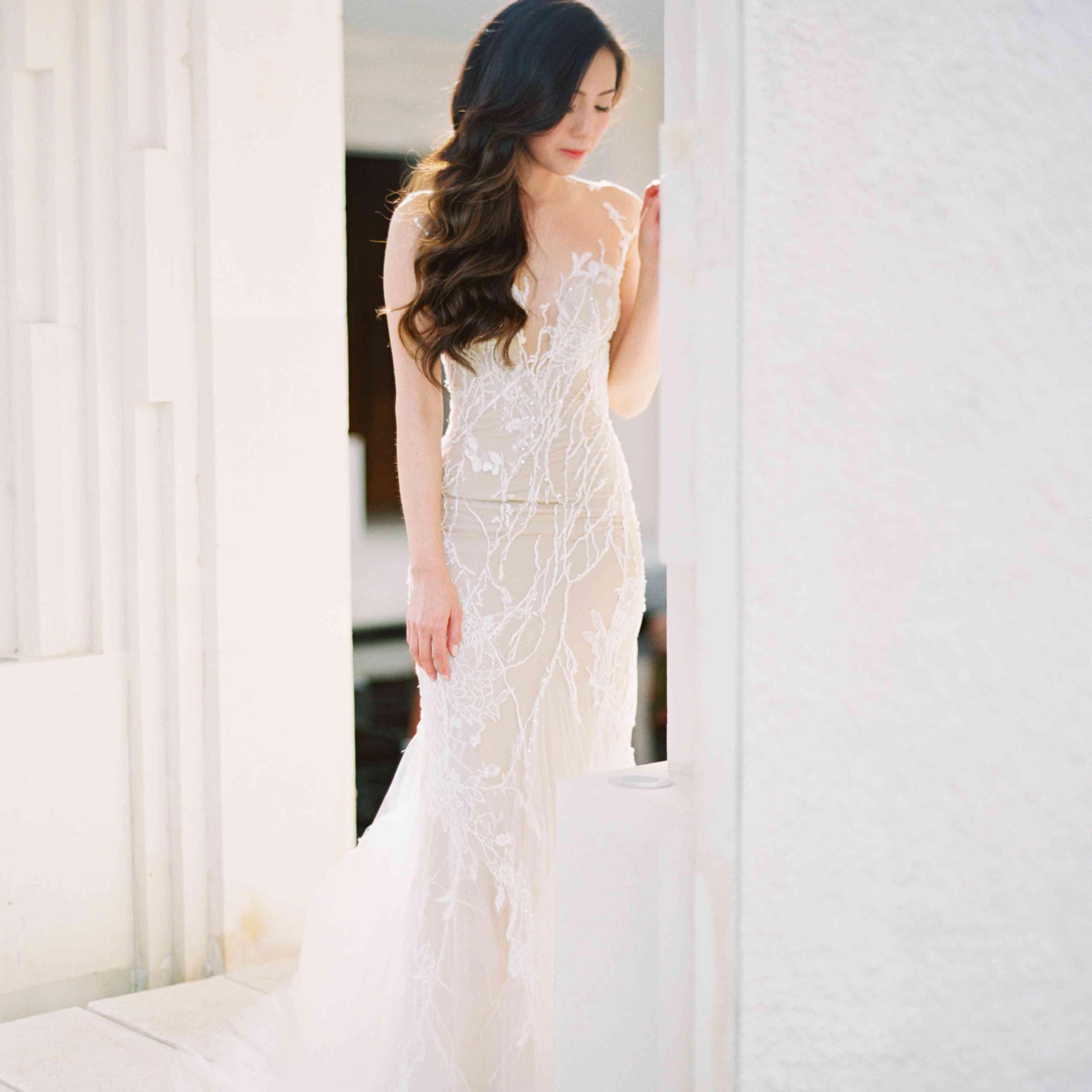 Bridal portrait with soft romantic waves