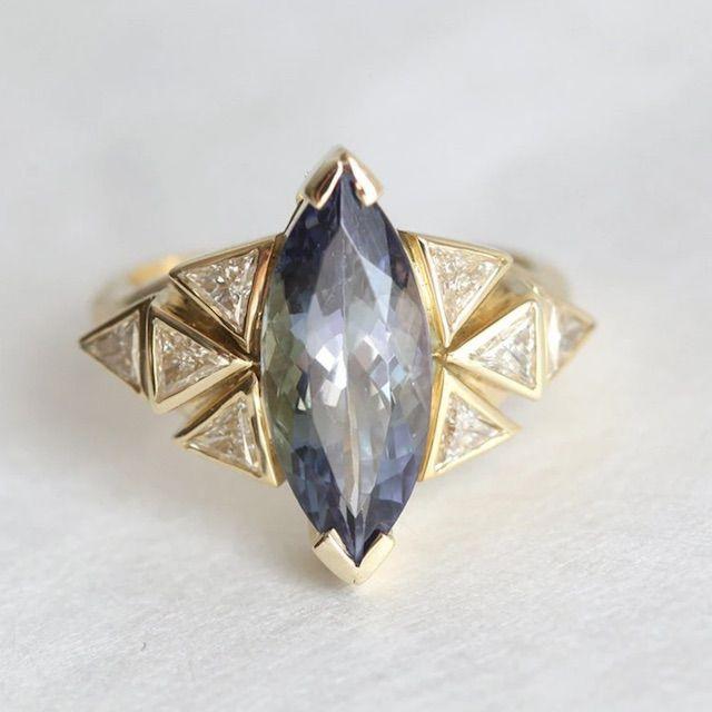 Capucinne Isabella Tanzanite Engagement Ring, Statement Diamond Ring