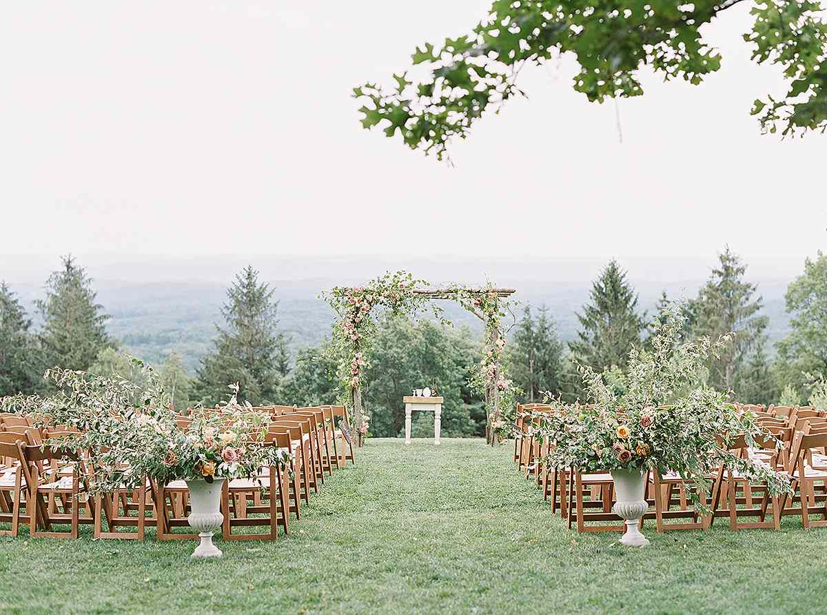 Ceremony altar with mountain views
