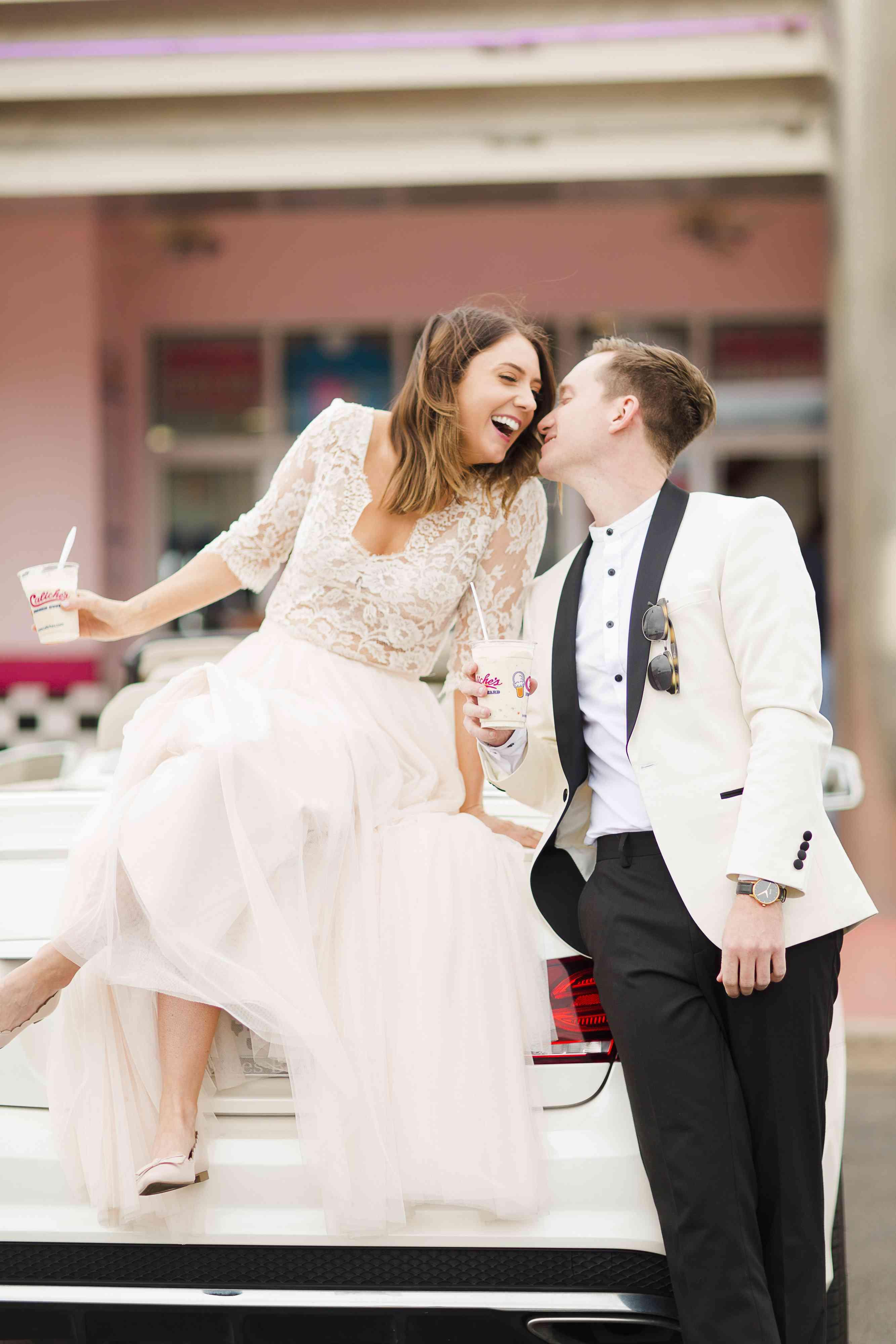 Bride and Groom Eat Ice Cream