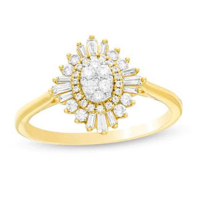 Zales Composite Diamond Double Starburst Frame Engagement Ring