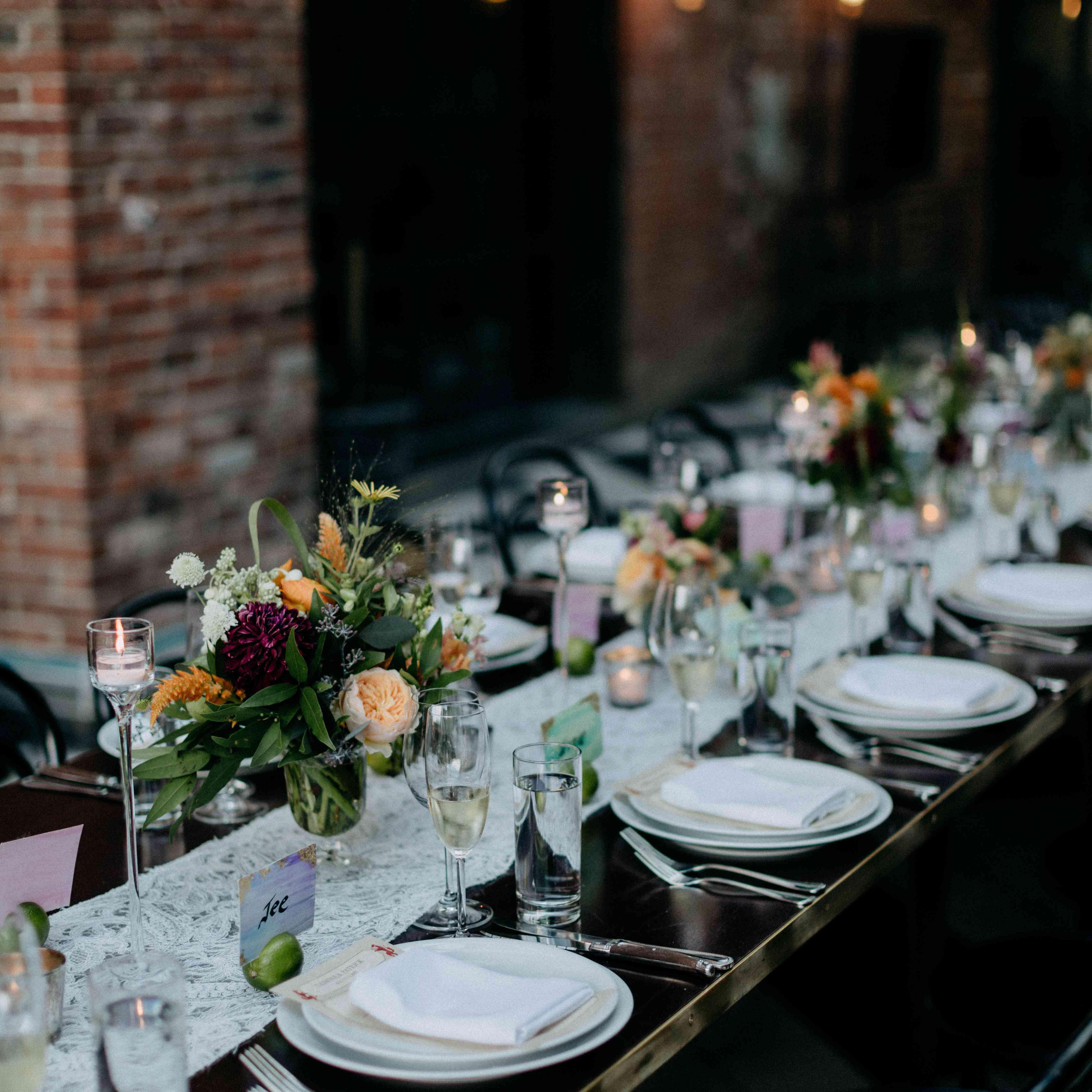 Wedding reception tablescape