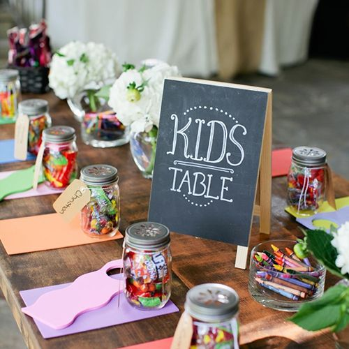 kids table with crayons