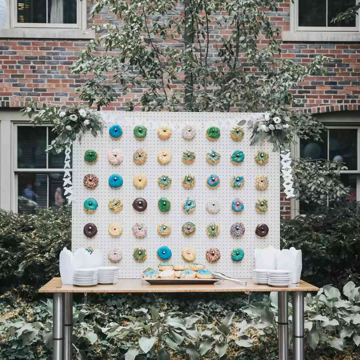 Donut wall featuring a spectrum of galaxy-inspired donuts