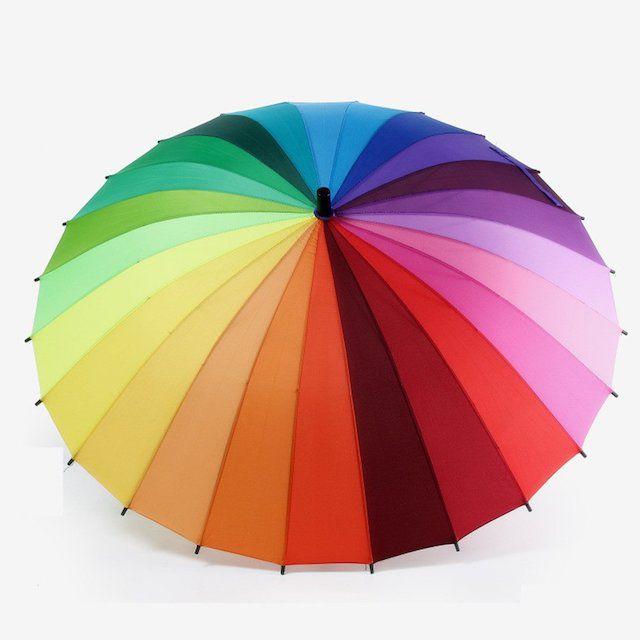 Meizhouer 24k Rib Large Color Rainbow Umbrella