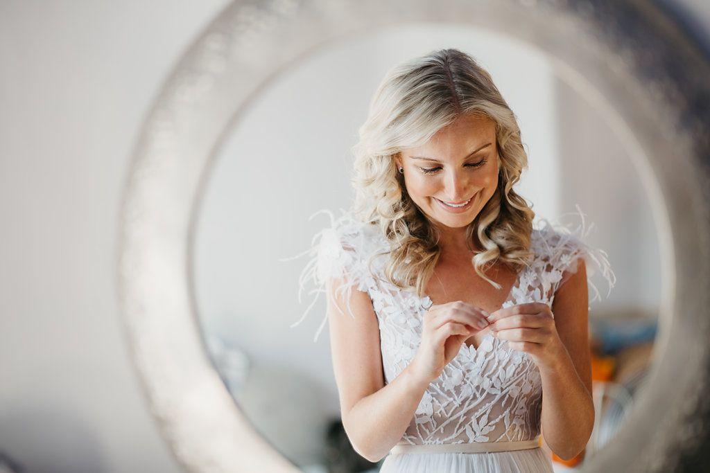 bride smiling candid