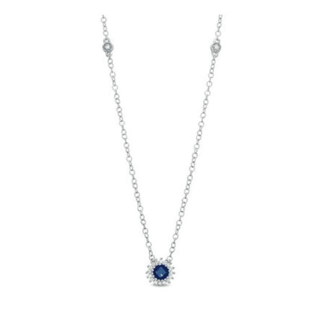 Blue Sapphire Sunburst Necklace