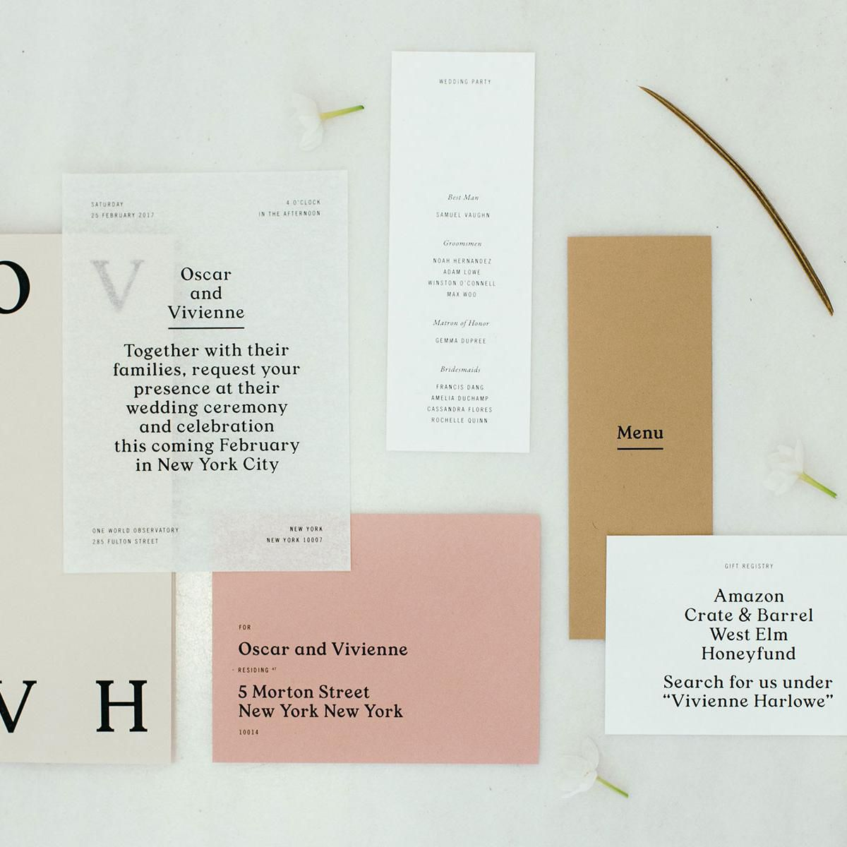 Invitation suite with gift registry card