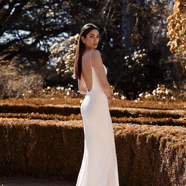 Model in strapless slip wedding dress