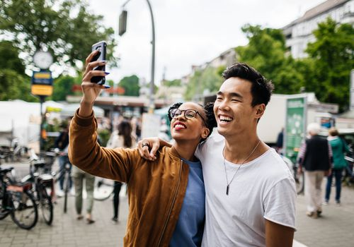 Couple takes selfie