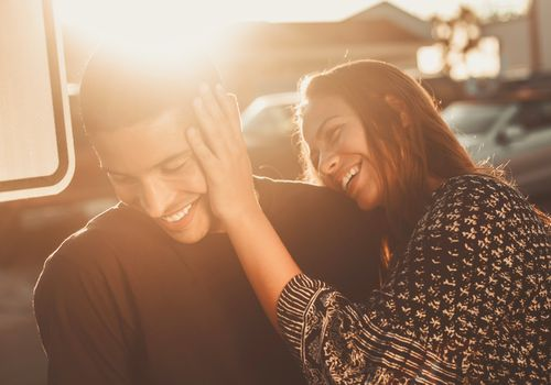 couple laughing playfully