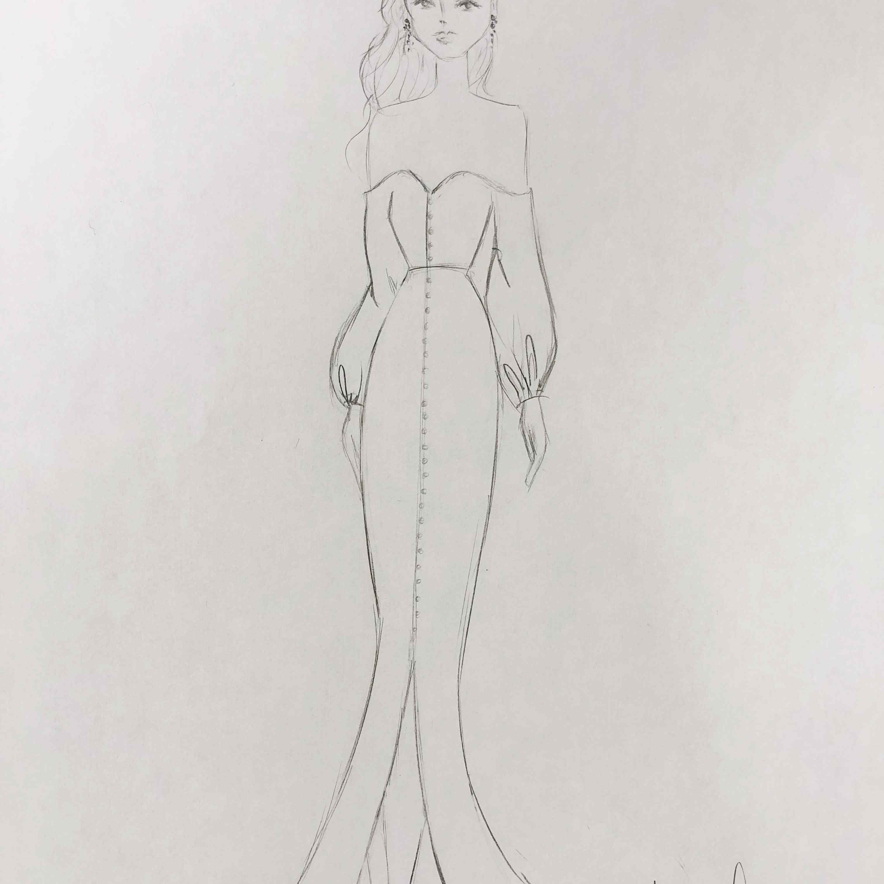 Alexandra Grecco Fall 2020 Bridal Fashion Week Sketch
