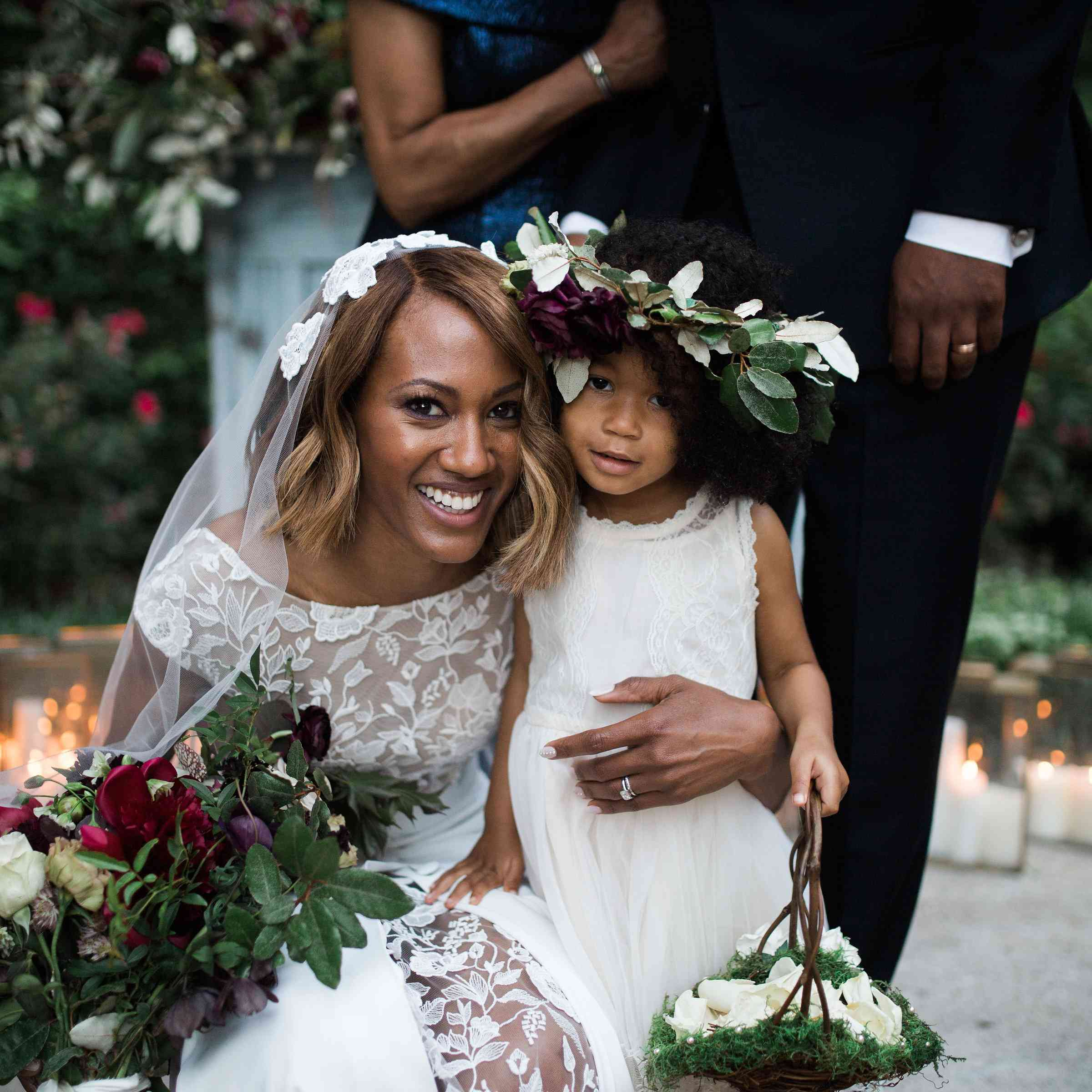 Bride and flower girl at wedding