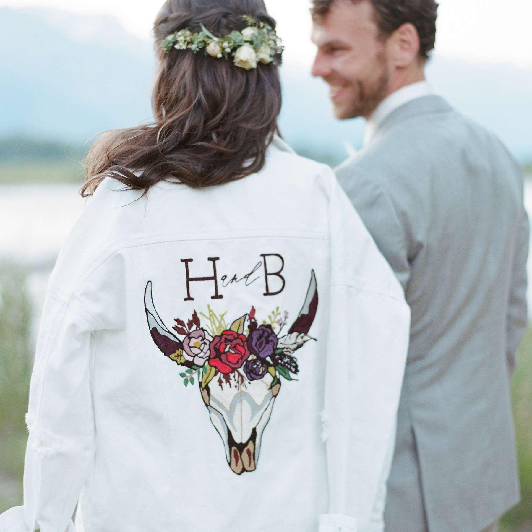 <p>Bride wearing jacket</p><br><br>