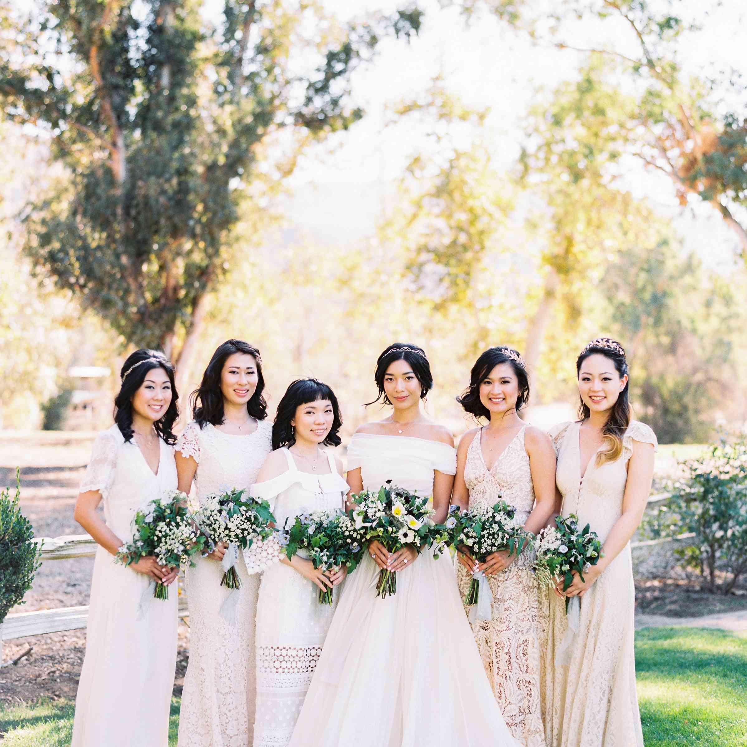 Bride With Bridesmaids in Cream Dresses