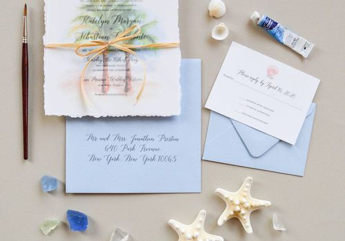 Palm tree beach wedding invitation suite